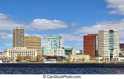 Skyline of Cambridge, Massachusetts from across the Charles River.