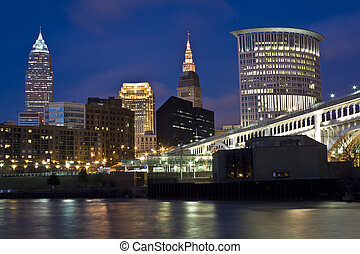 Skyline of Cleveland - evening time.