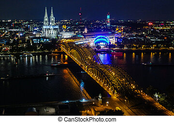 Skyline of Cologne at night