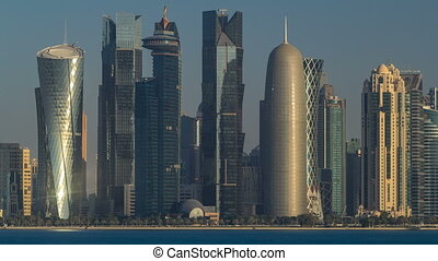 Skyline of Doha timelapse in Qatar in the very early morning...