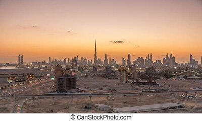 Skyline of Downtown Dubai day to night timelapse.