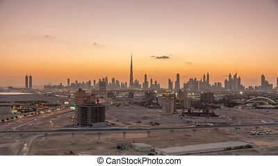 Skyline of Downtown Dubai day to night timelapse.