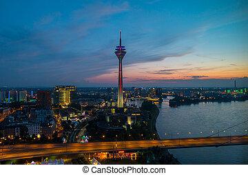 skyline of Dusseldorf in Germany at night