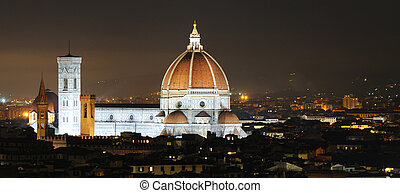 Skyline of Firenze or Florence by night with duomo prominent...