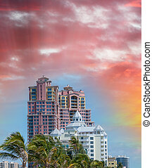 Skyline of Fort Lauderdale at sunset, Florida