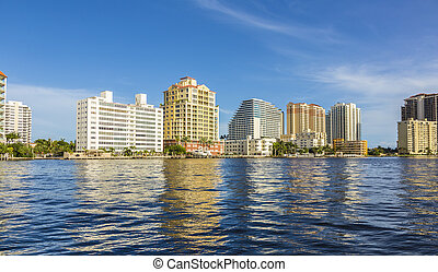 skyline of Fort Lauderdale seen from the main canal