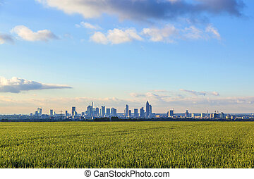 skyline of Frankfurt with fields in foreground - skyline of...