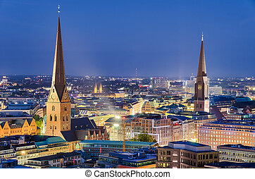 Skyline of Hamburg, Germany - Night skyline of Hamburg,...
