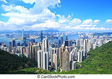 Skyline of Hong Kong City from the Peak