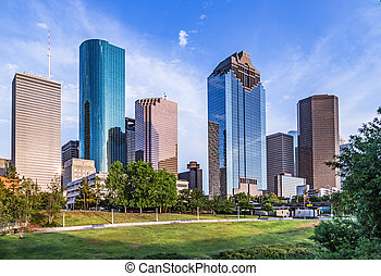 skyline of houston in sunset - skyline of housto, Texas in...