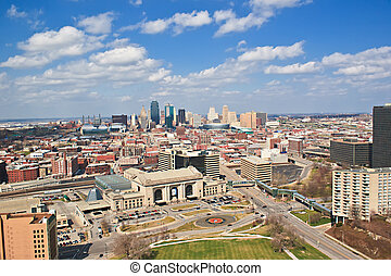 A skyline view of Kansas City, Missouri. Kansas City is an important place for businesses and also a great place for people to go on vacation.
