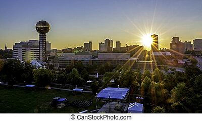 Skyline of Knoxville from UT ccampus - Sunrise in Knoxville...