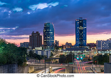 Skyline of Knoxville, Tennessee at Sunset