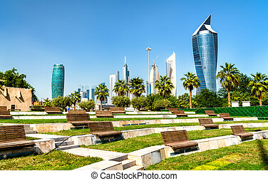 Skyline of Kuwait City at Al Shaheed Park