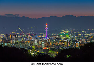 Skyline of Kyoto Cityscape at Night