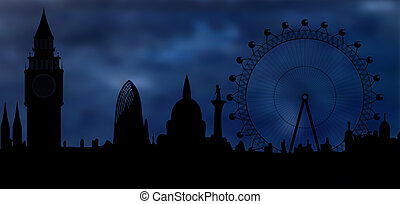 skyline of London at night - Image of the panorama of London...