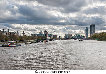 Skyline of London on a cloudy day