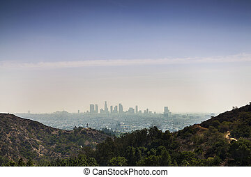 Skyline of Los Angeles City - Panorama of Los Angels,...