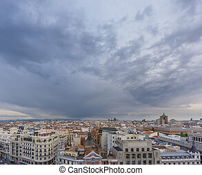 Skyline of Madrid in a cloudy day nr4