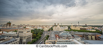 Skyline of Madrid in a cloudy day