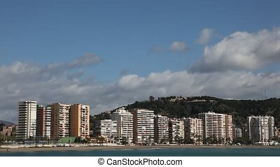 Skyline of Malaga, Spain - Waterside buildings of La Caleta...