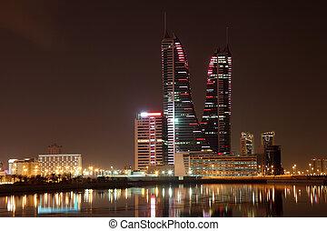 Skyline of Manama at night. Bahrain, Middle East
