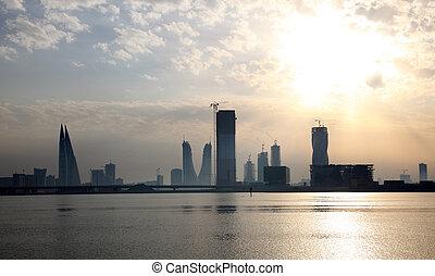 Skyline of Manama at sunset. Kingdom of Bahrain, Middle East