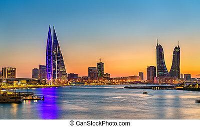 Skyline of Manama at sunset. The capital of Bahrain