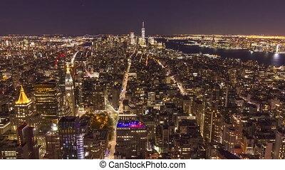 skyline of manhattan new york at night