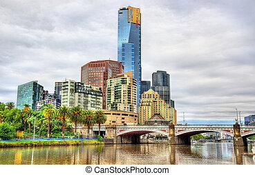 Skyline of Melbourne along the Yarra River and Princes Bridge - Australia