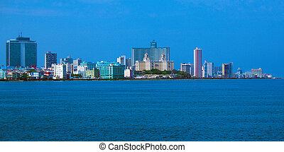 Skyline of modern Havana and Caribbean sea, Cuba