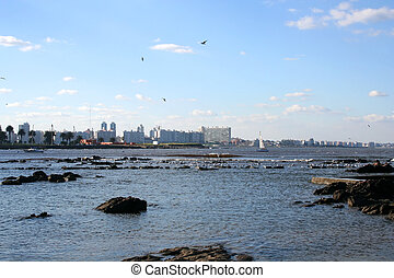 Skyline of Montevide - Digital photo of the skyline of ...