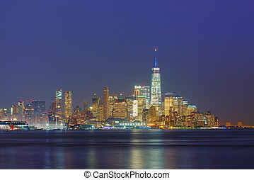 Skyline of New York City at night, USA
