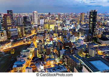 Skyline of Osaka City at night