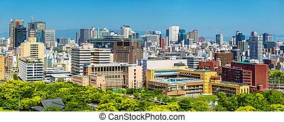Skyline of Osaka city in Japan