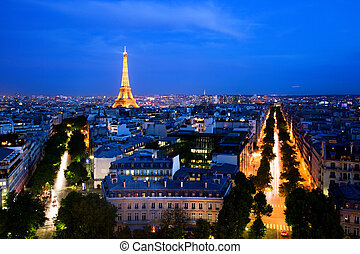 Skyline of Paris, France at night. View from Arc de Triomphe...