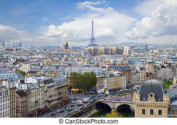 skyline of Paris, France - skyline of Paris city with blue...