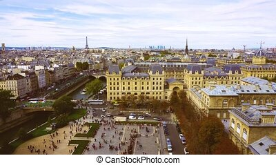 skyline of Paris, France - skyline of Paris city at sunny...