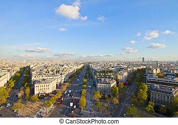 skyline of Paris from place de l'Étoile, France