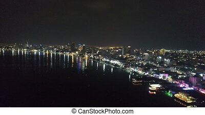 Skyline of Pattaya from aerial view at night