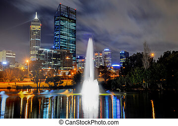 Skyline of Perth, Australia. View from John Oldany park. ...