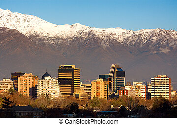 Skyline of Providencia district in Santiago de Chile with ...