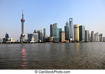 Skyline of Pudong as seen from the Bund, Shanghai, China