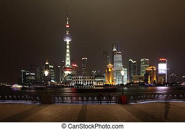Skyline of Pudong at night. Shanghai, China