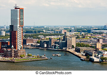 Skyline of Rotterdam, second city of the Netherlands