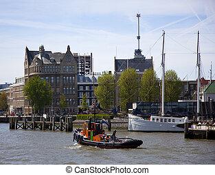 skyline of rotterdam, the netherlands