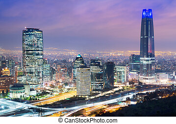 Skyline of Santiago de Chile with modern office buildings at...