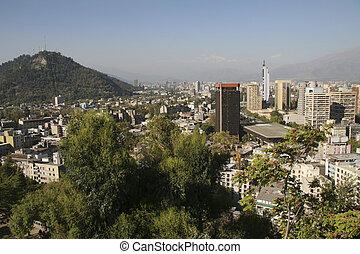 Skyline of Santiago, capital of Chile