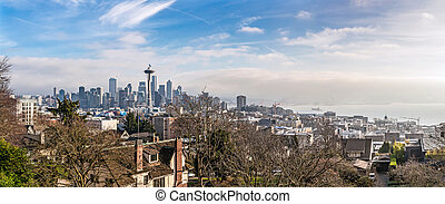 Skyline of Seattle in daylight