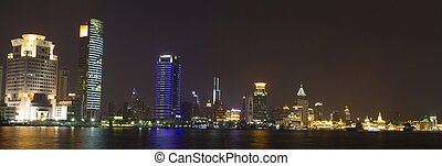 Skyline of Shanghai by night. - Skyline of Shanghai by...